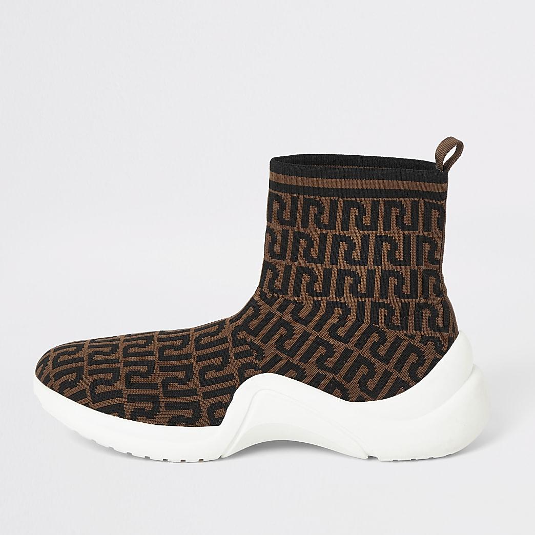 Baskets de course chaussettes marron avec logo RI