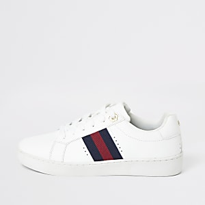 White side strip lace-up trainers