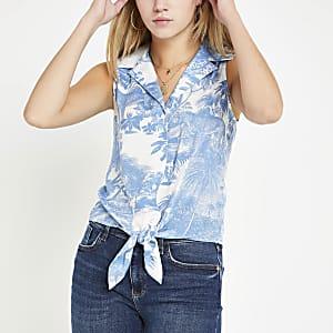 Blue floral print tie front shirt