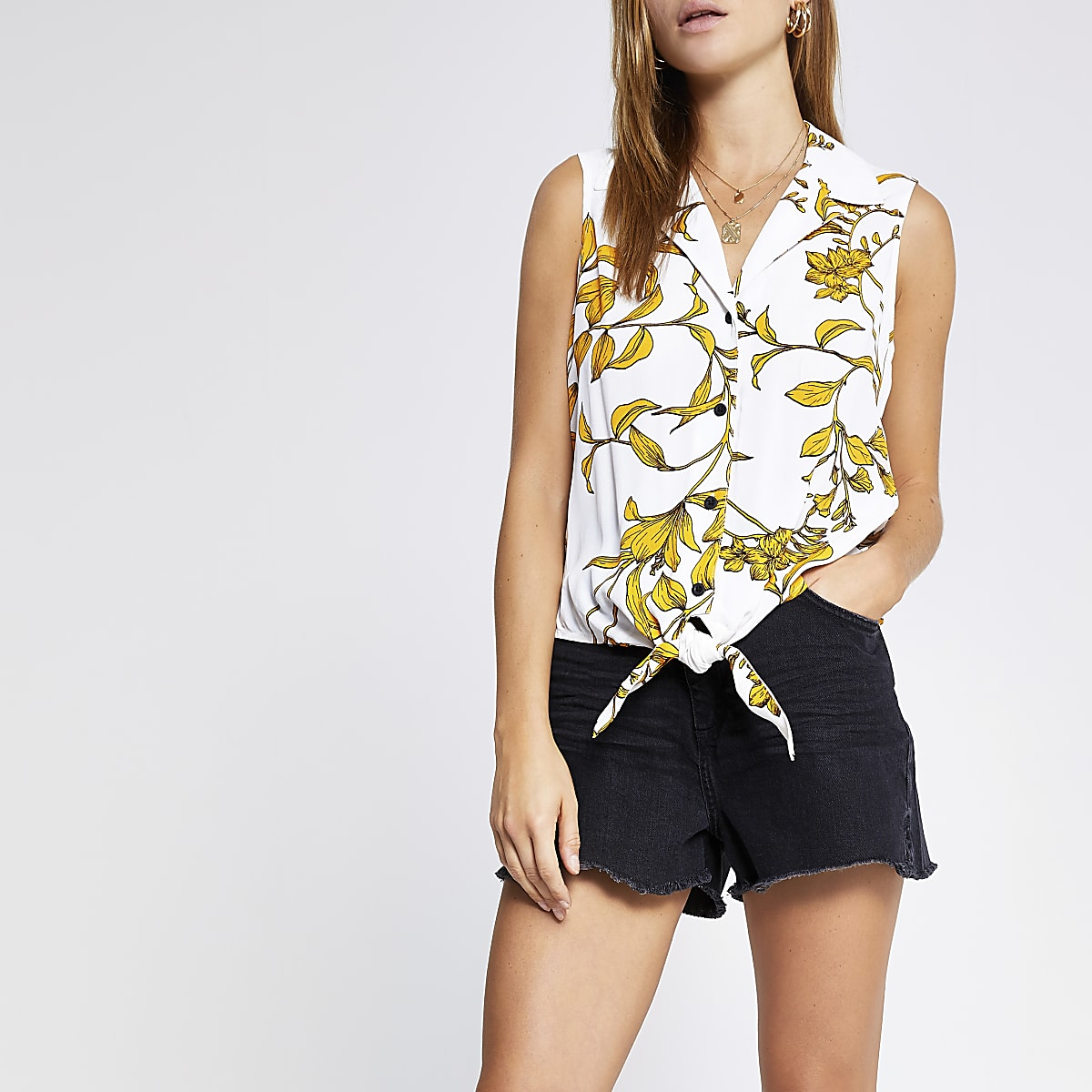 White floral tie front shirt