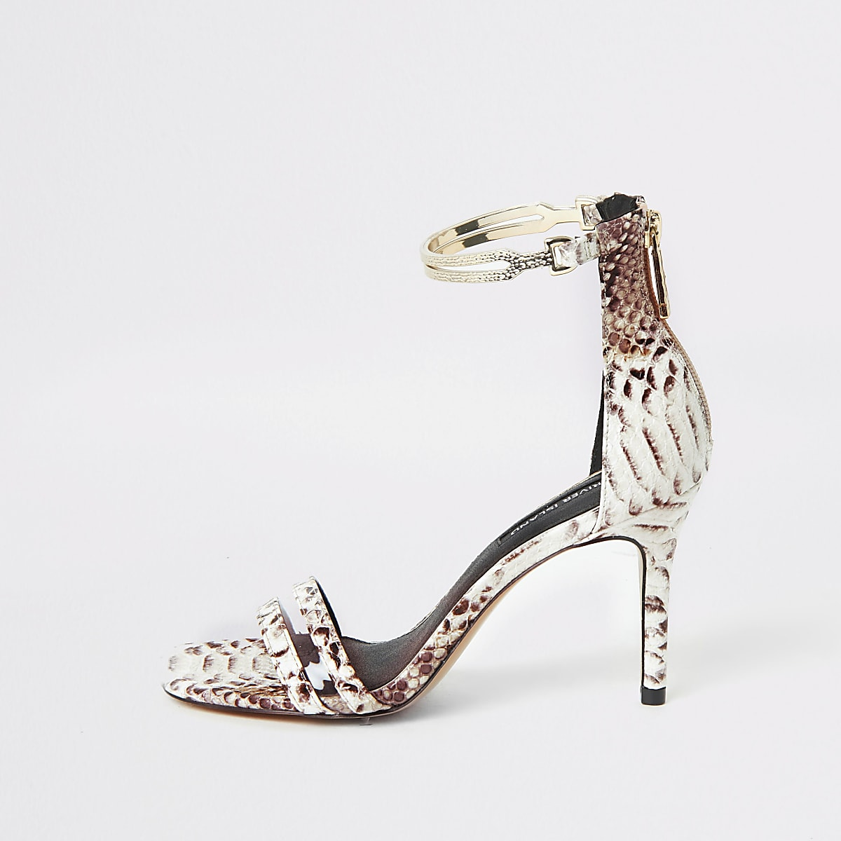 Grey snake print gold ankle cuff sandal