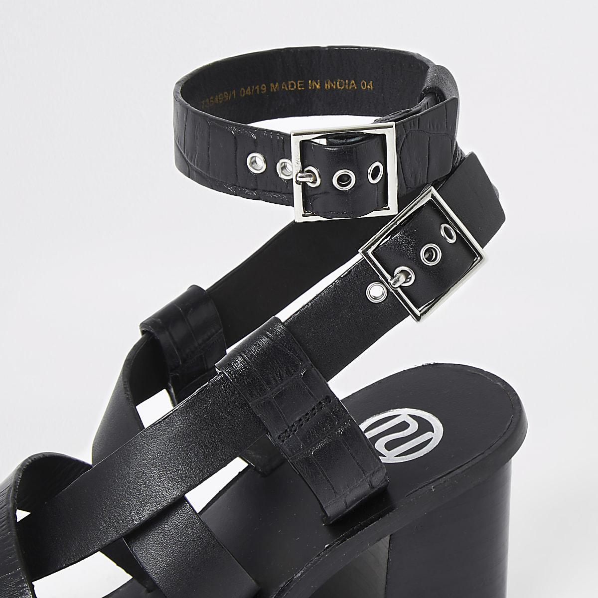 Toe Ring Black Block Leather Heel Sandals trhQsdCx