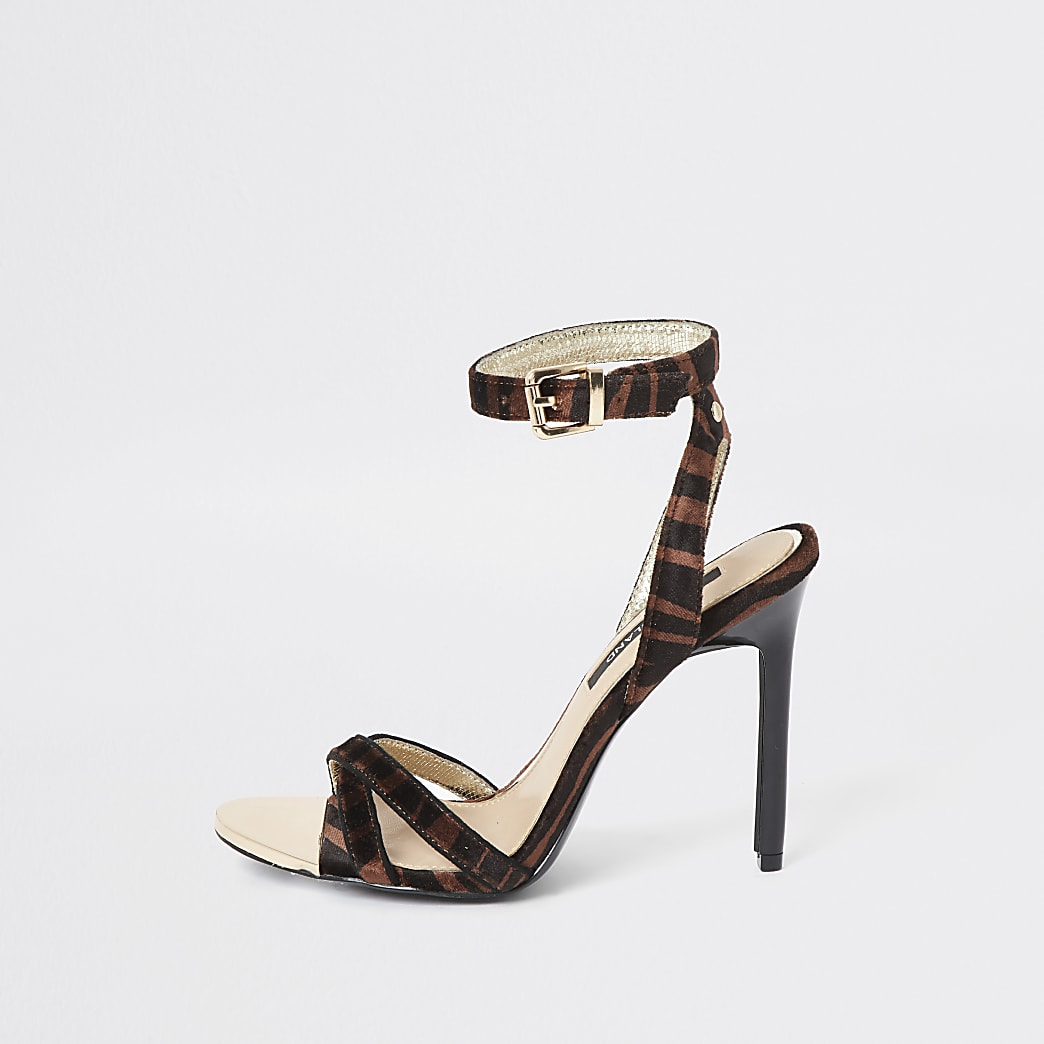 Brown animal print cross strap heeled sandals