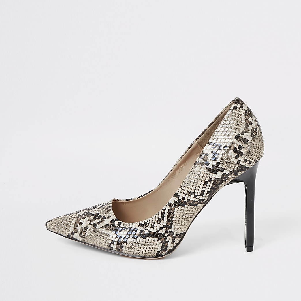 Brown wide fit snake print court shoes