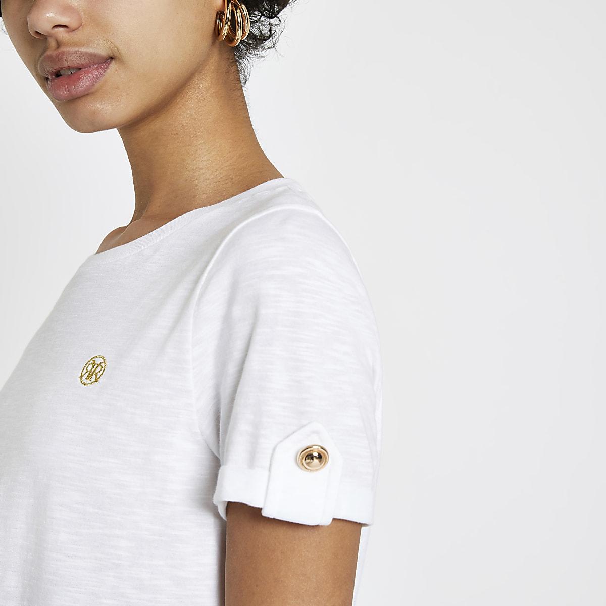 White RI turn up sleeve T-shirt