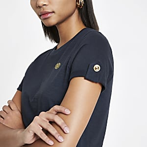 Navy RI turn up sleeve T-shirt