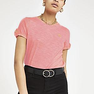 T-shirt rose fluo à logo RI avec manches retroussées
