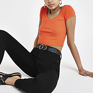 Orange ribbed scoop neck crop T-shirt