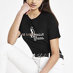 Schwarzes T-Shirt mit Folienprint