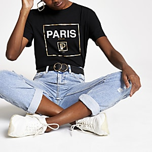 T-shirt à imprimé « Paris » métallisé noir
