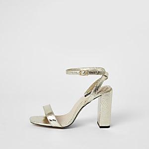 Sandales dorées en deux parties à talons carrés coupe large