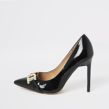 Black wide fit patent court shoes