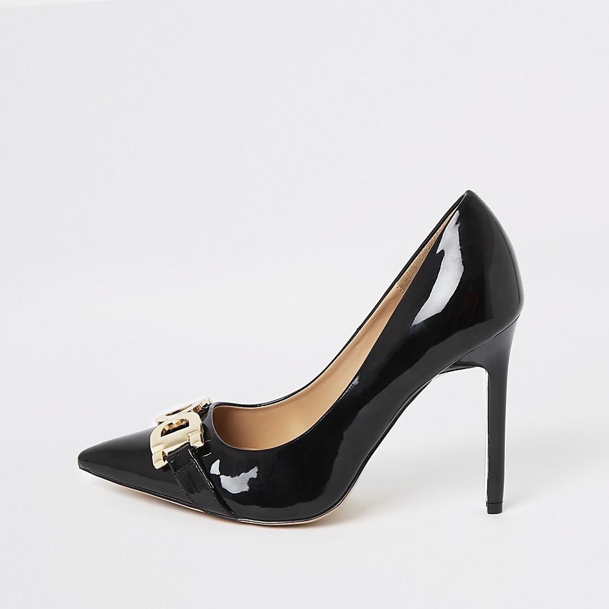 Black wide fit patent court shoes