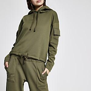 Kaki verfraaide utitlity hoodie