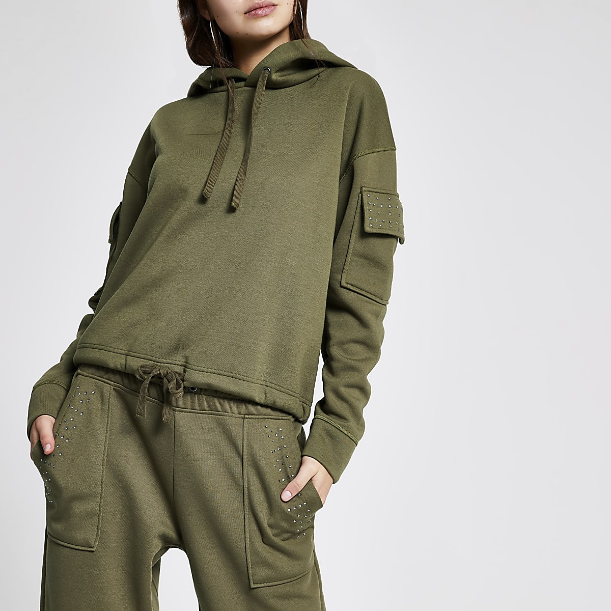 Khaki embellished utility hoodie