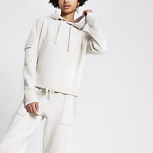 Crème utility hoodie met diamantjes