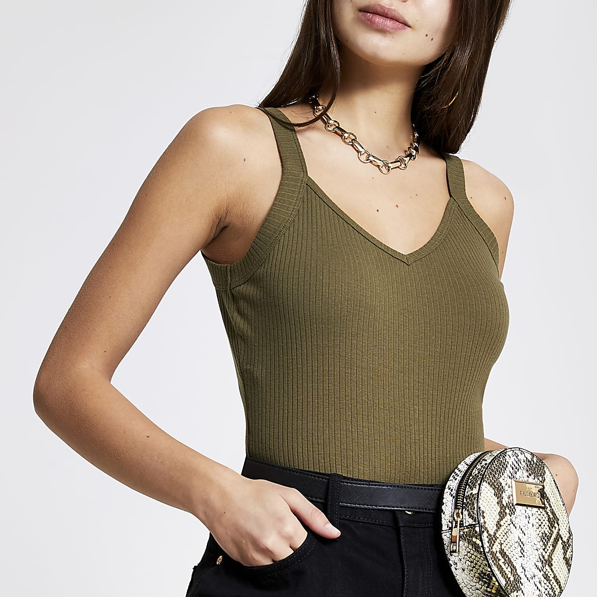 Khaki ribbed V neck cami vest