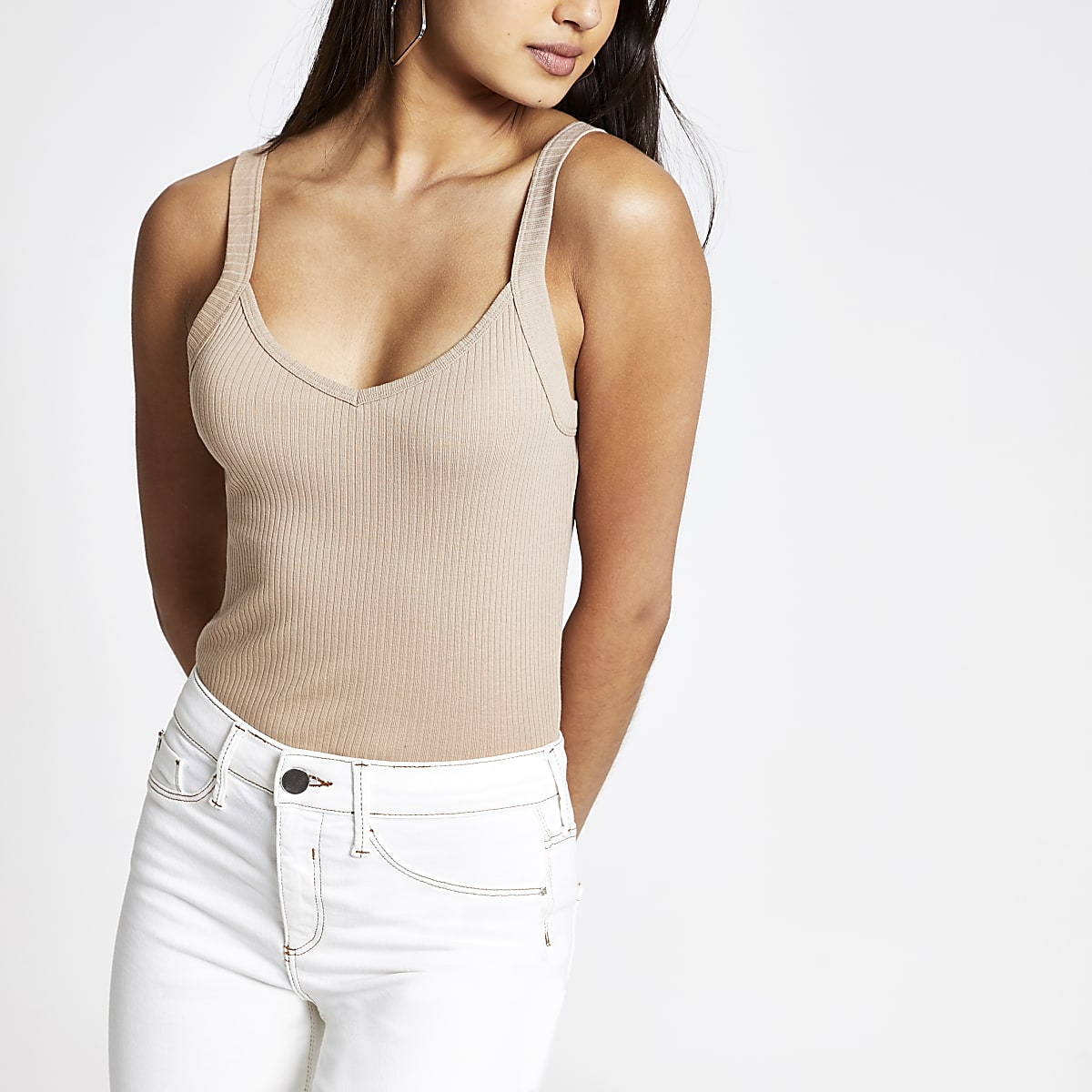 Beige ribbed V neck cami tank
