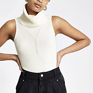 Cream cowl neck knitted top