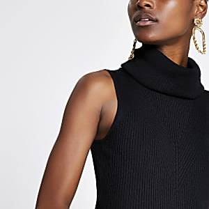 Black cowl neck knitted top