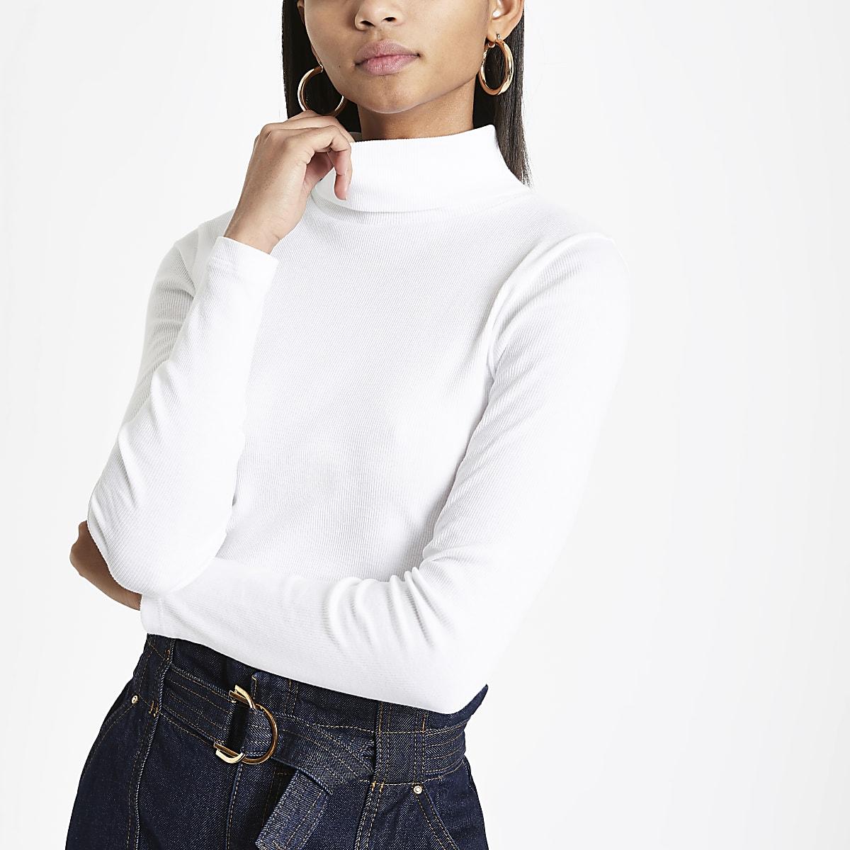 fcba519317e31 White rib long sleeve roll neck top - T-Shirts - Tops - women