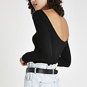 Black ribbed long sleeve T-shirt