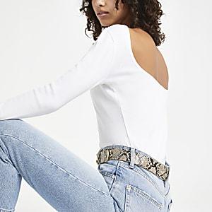 Wit geribbeld T-shirt met lange mouwen