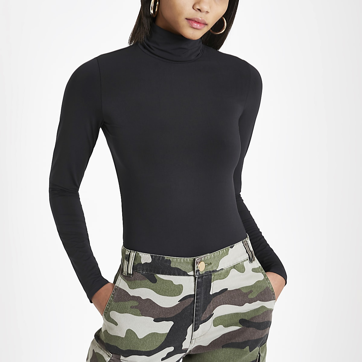 Black slinky roll neck top