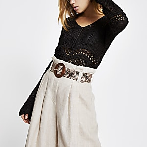Brown crochet long sleeve top