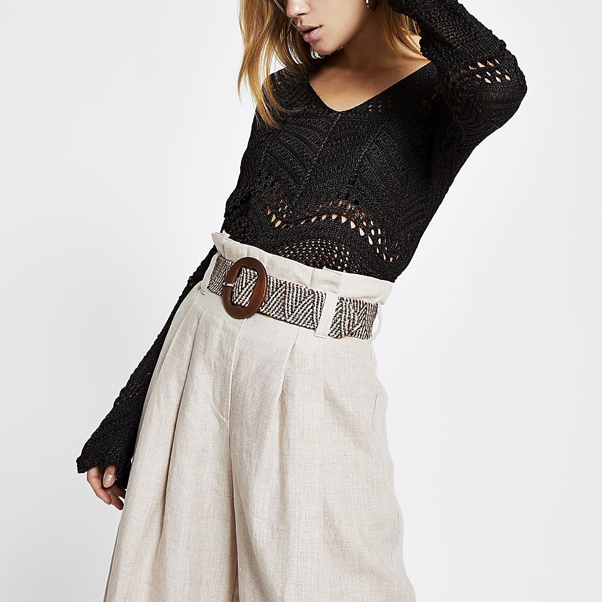 Brown crochet long sleeve top