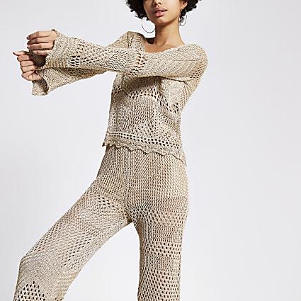 Gold metallic crochet top