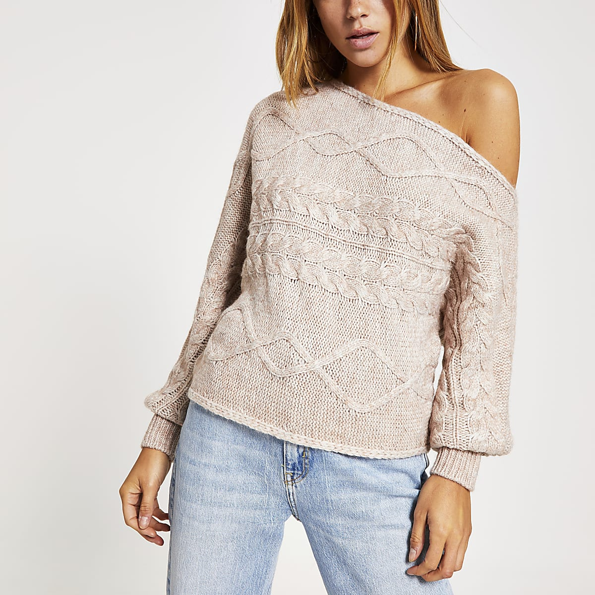 Beige asymmetric knitted bardot jumper