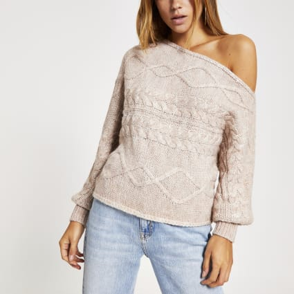 Beige asymmetric knitted bardot jumper