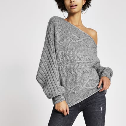 Grey asymmetric cable knitted jumper