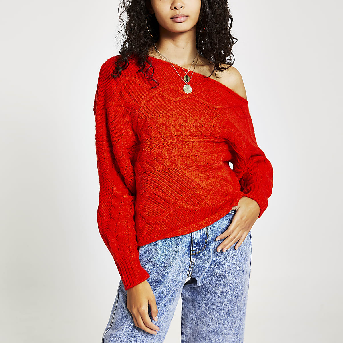 Orange asymmetric bardot knitted jumper