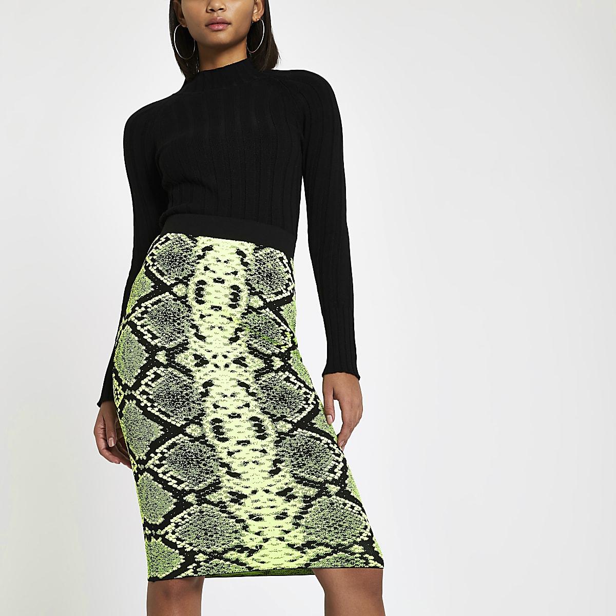 Neon green snake print midi skirt