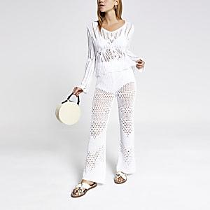 White crochet trousers