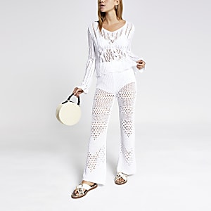 White crochet pants