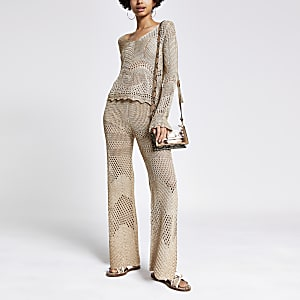 Gold crochet wide leg pants