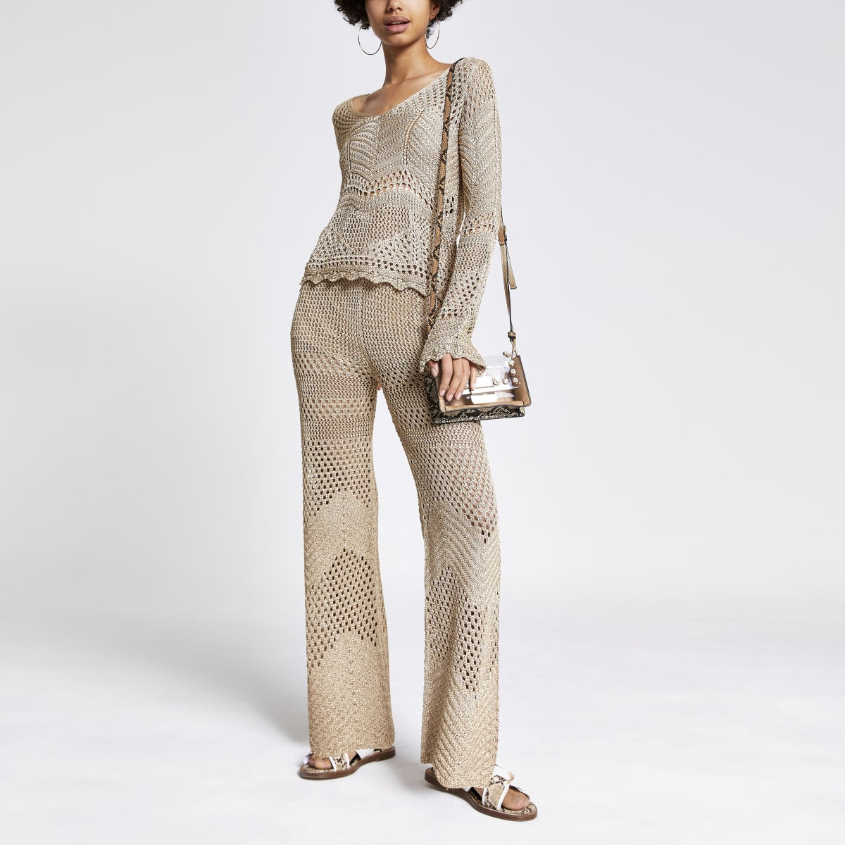 Gold crochet wide leg trousers