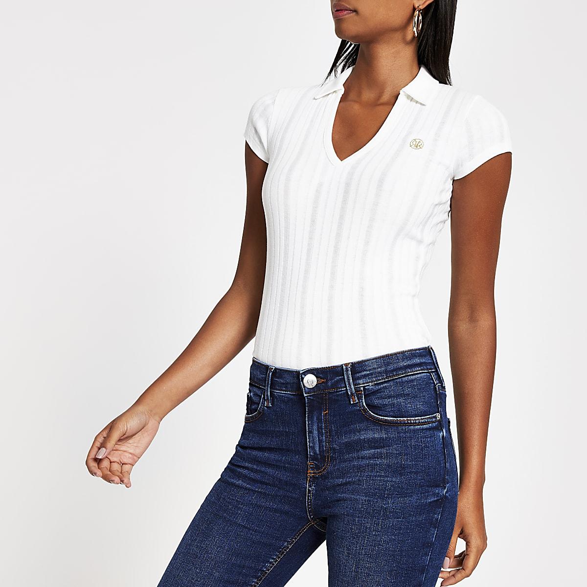 White ribbed polo shirt
