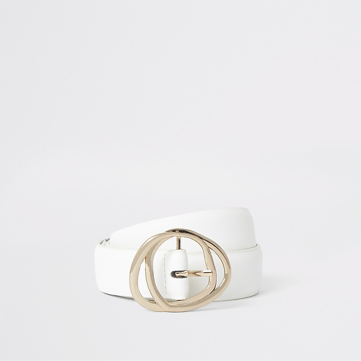 White gold tone double ring buckle belt