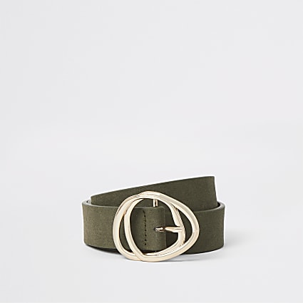 Khaki faux suede gold tone double buckle belt