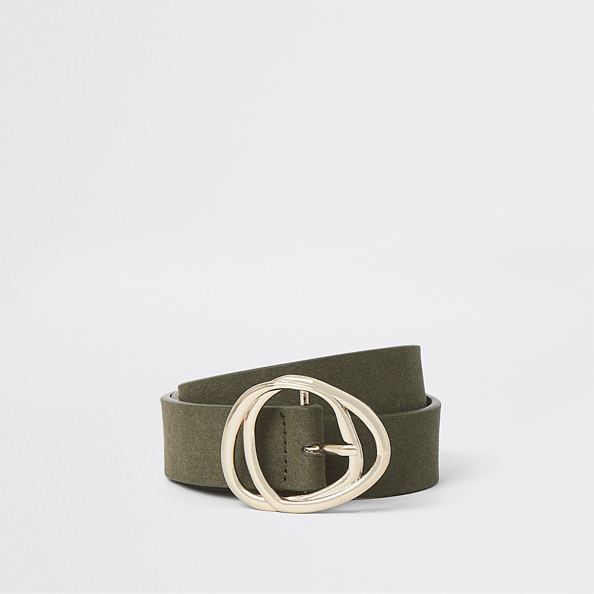 Khaki faux suede gold tone double buckle belt