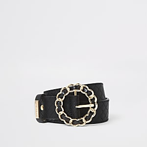 Black quilted ring buckle belt