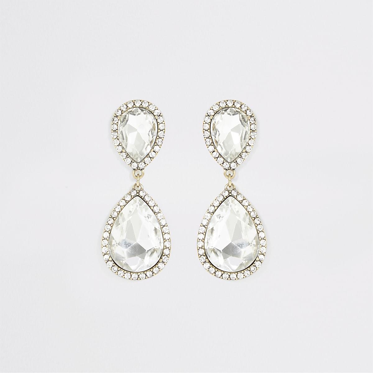 Gold colour jewel antique drop earrings