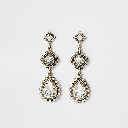 Gold colour jewell drop vintage earrings