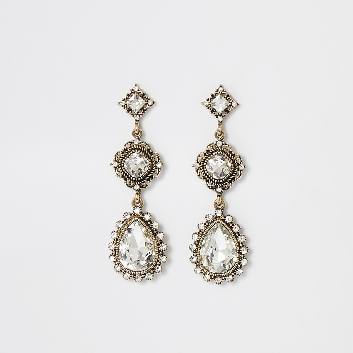 Gold color jewell drop vintage earrings