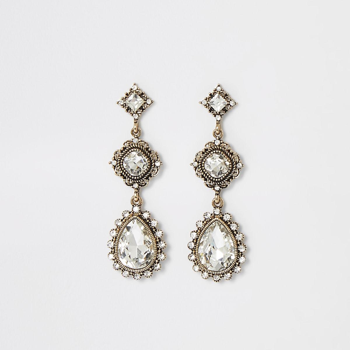 Boucles d'oreilles vintage dorées à pierre
