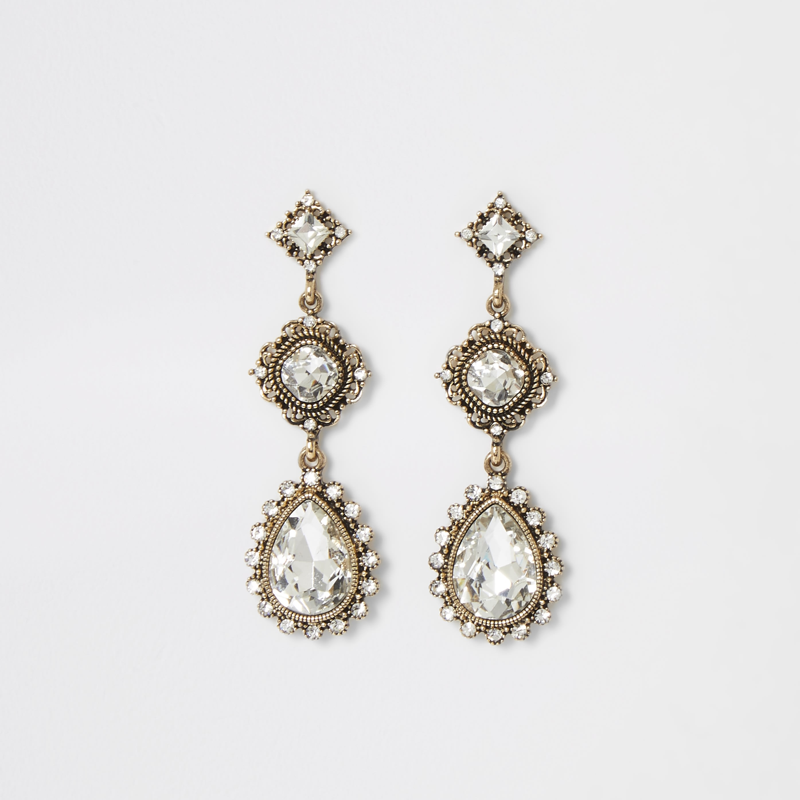 RIVER ISLAND | Womens Gold colour jewell drop vintage earrings | Goxip
